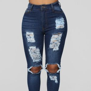 Say Yes To Distress Jeans - Dark Denim